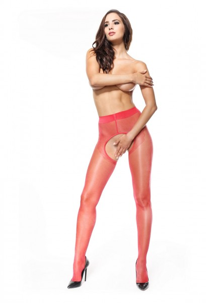 P211 pantyhose open crotch red 20den