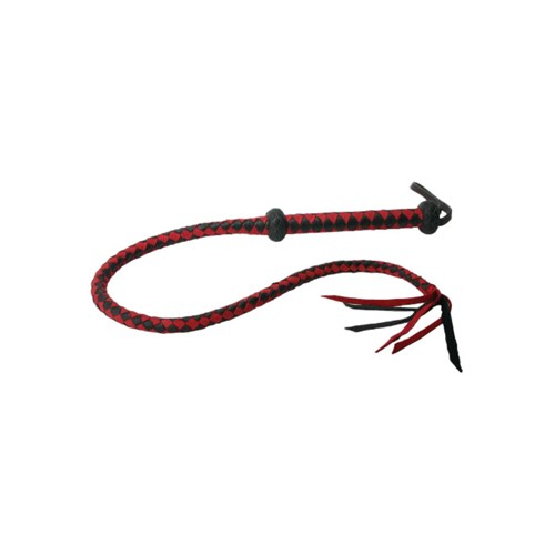 Premium Red and Black Leather Whip